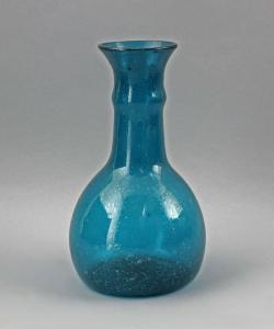 99835402 Türkisfarbene Glas Vase 19. Jh. Luftblaseneinschlüsse Bodenabriss