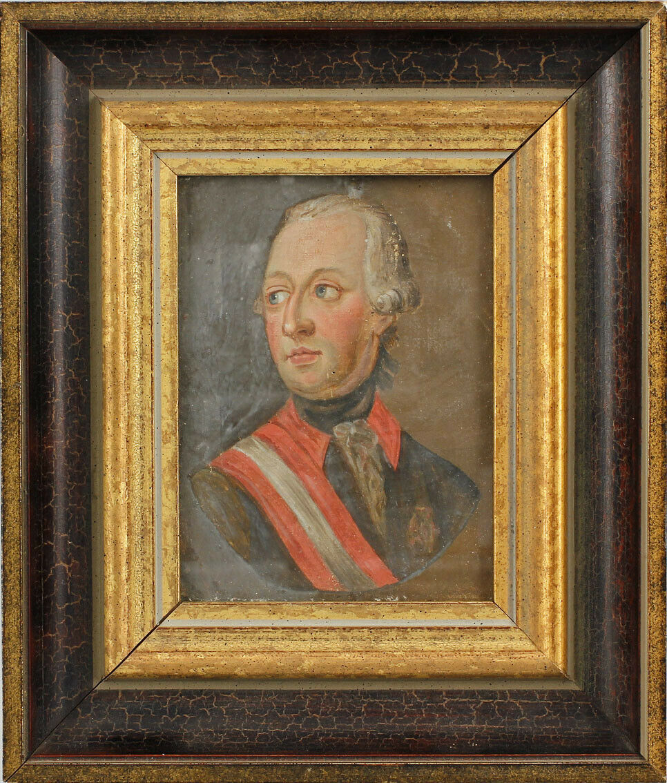 99860073 Kleines Ölgemälde Porträt Kaiser Joseph II. Habsburg Österreich HRR