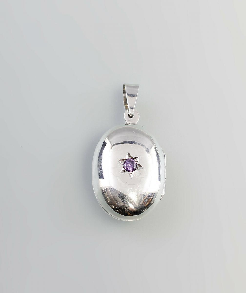 925er Silber modischer Medaillon-Anhänger mit Amethyst  9907189