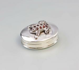 9927417 925er Silber Miniatur ovale Pillendose Frosch Granat 3x2x4cm