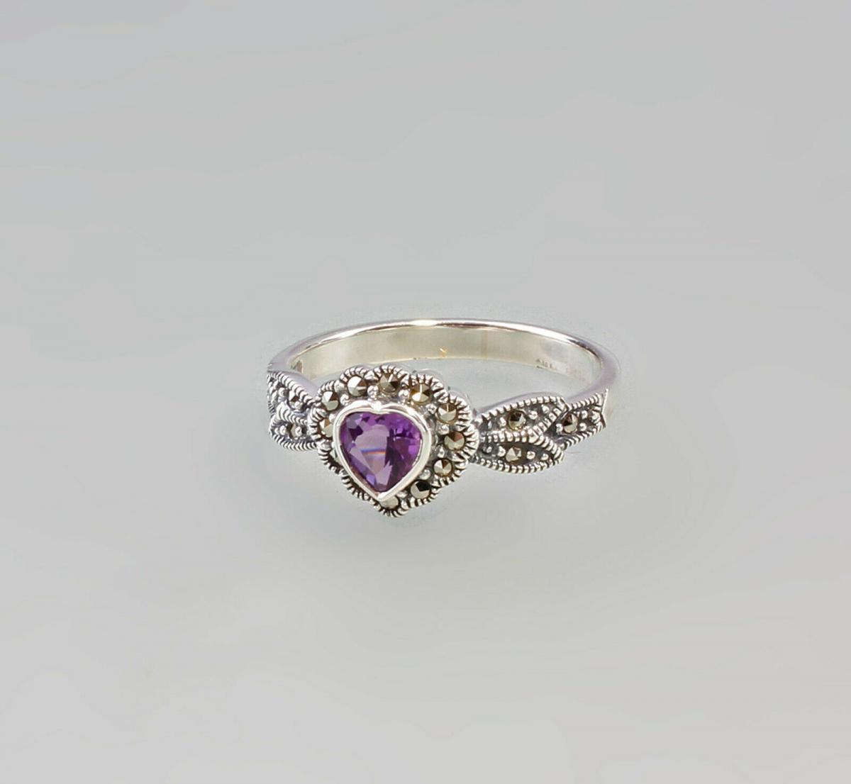 9927372 925er Silber Amethyst-Markasit-Ring HerzGr. 56