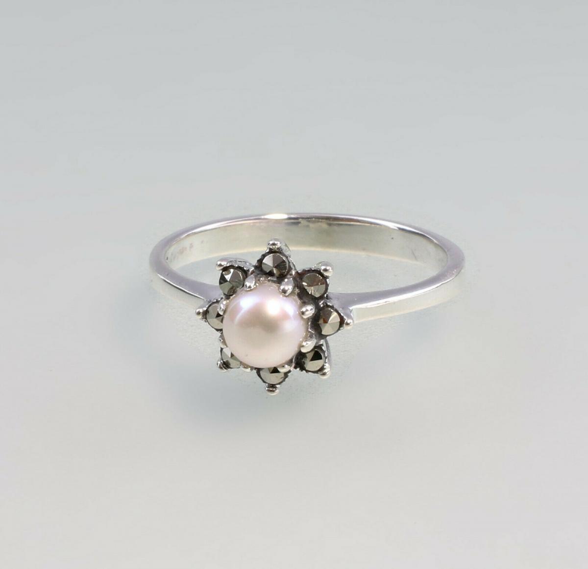 9927123 925er Silber Perlen-Markasit-Ring Gr.53