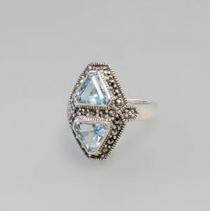 925er Silber Blautaopas Markasiten Ring  Gr. 56 9927583