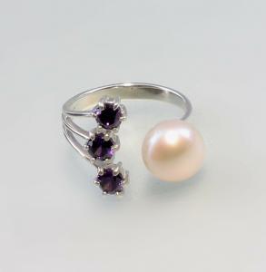 9927127 925er Silber Perlen-Amethyst-Ring Gr.55