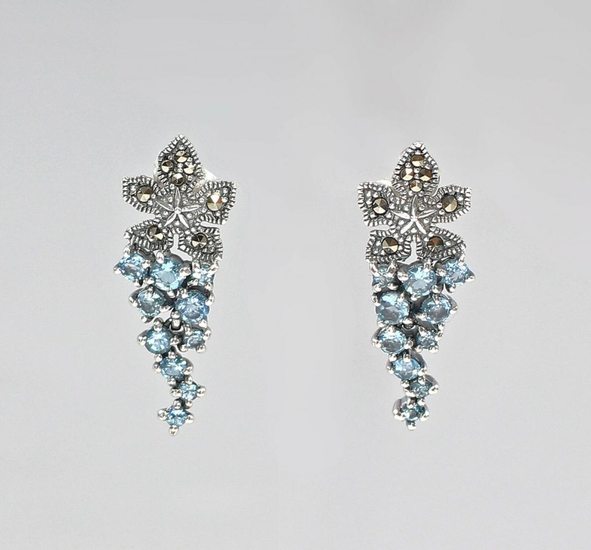 9927011 925er Silber Blautopas-Markasit-Ohrringe Traube