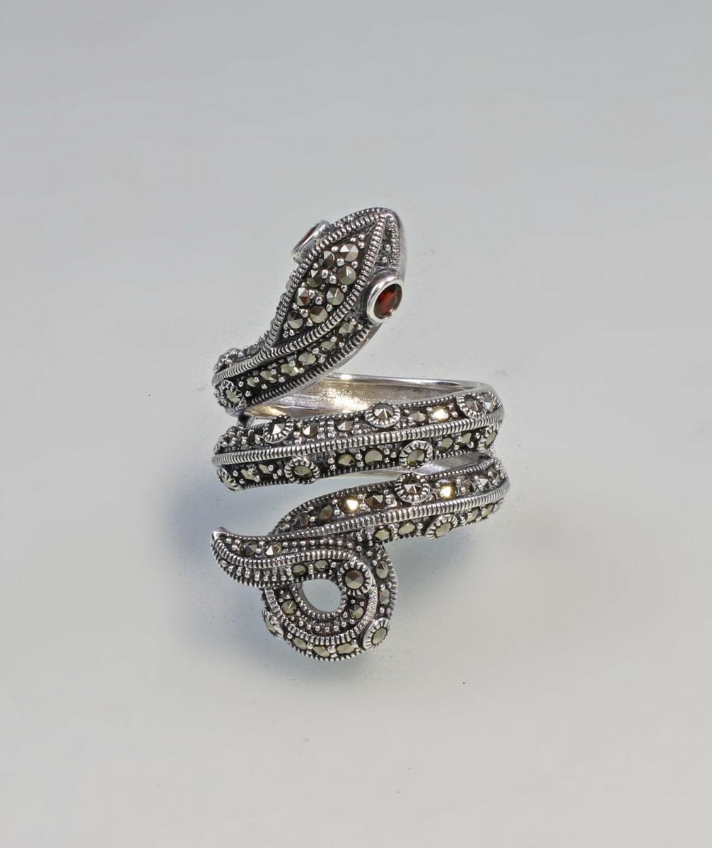 9927107 925er Silber Granat-Markasit-Ring Schlange Gr.59