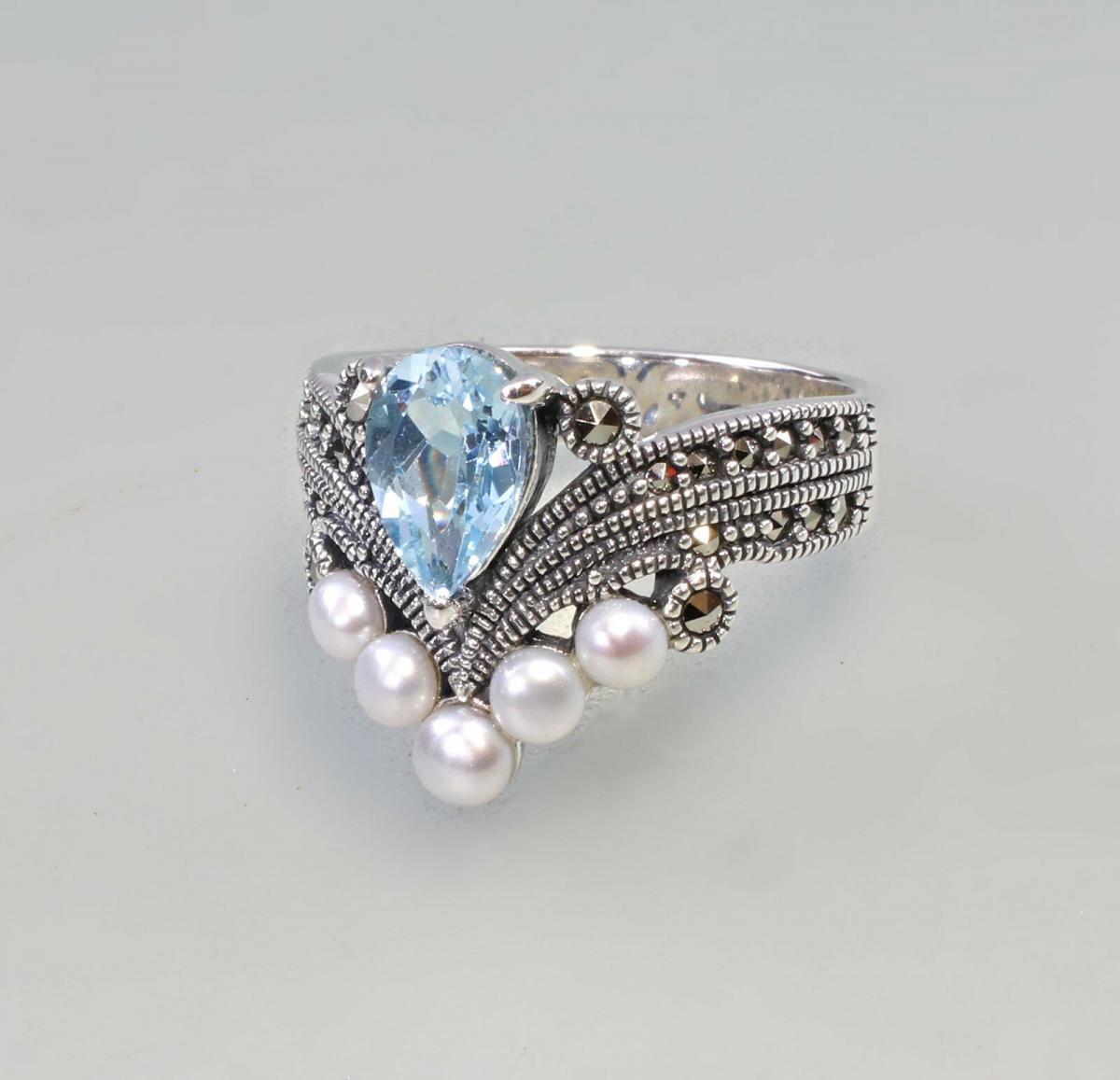 9927204 925er Silber Blautopas-Perlen-Ring Markasiten Gr.55