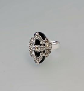 9927432 925er Silber Onyx-Markasit-Ring Art deco Gr.58