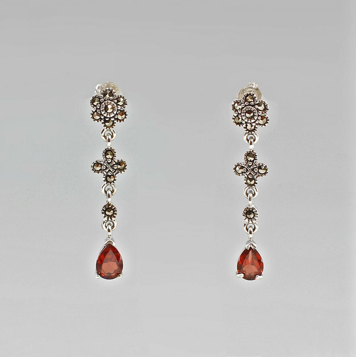 9907295 925er Silber Ohrringe mit Granat und Markasiten
