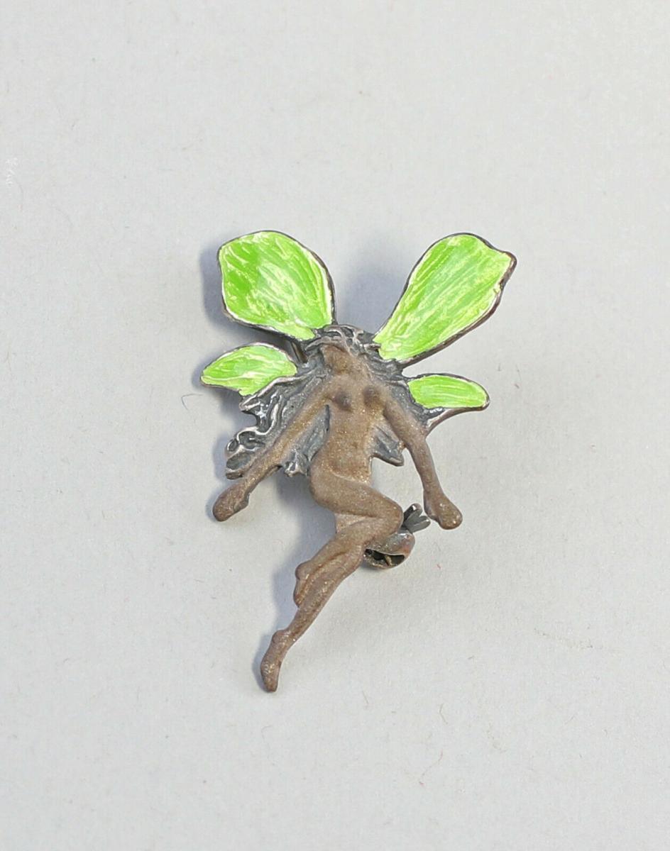 9901590 925er Silber Brosche Jugendstil Elfe emailliert L3cm