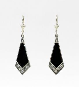 9901103 925er Silber Ohrringe mit Swarovski-Steinen Onyx Art deco 1,2x4cm