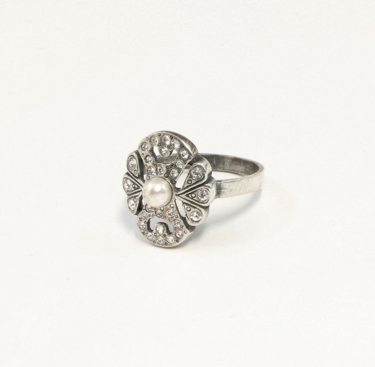 9901366 925er Silber Ring mit Swarovski-Steinen u.Zuchtperle Gr. 53