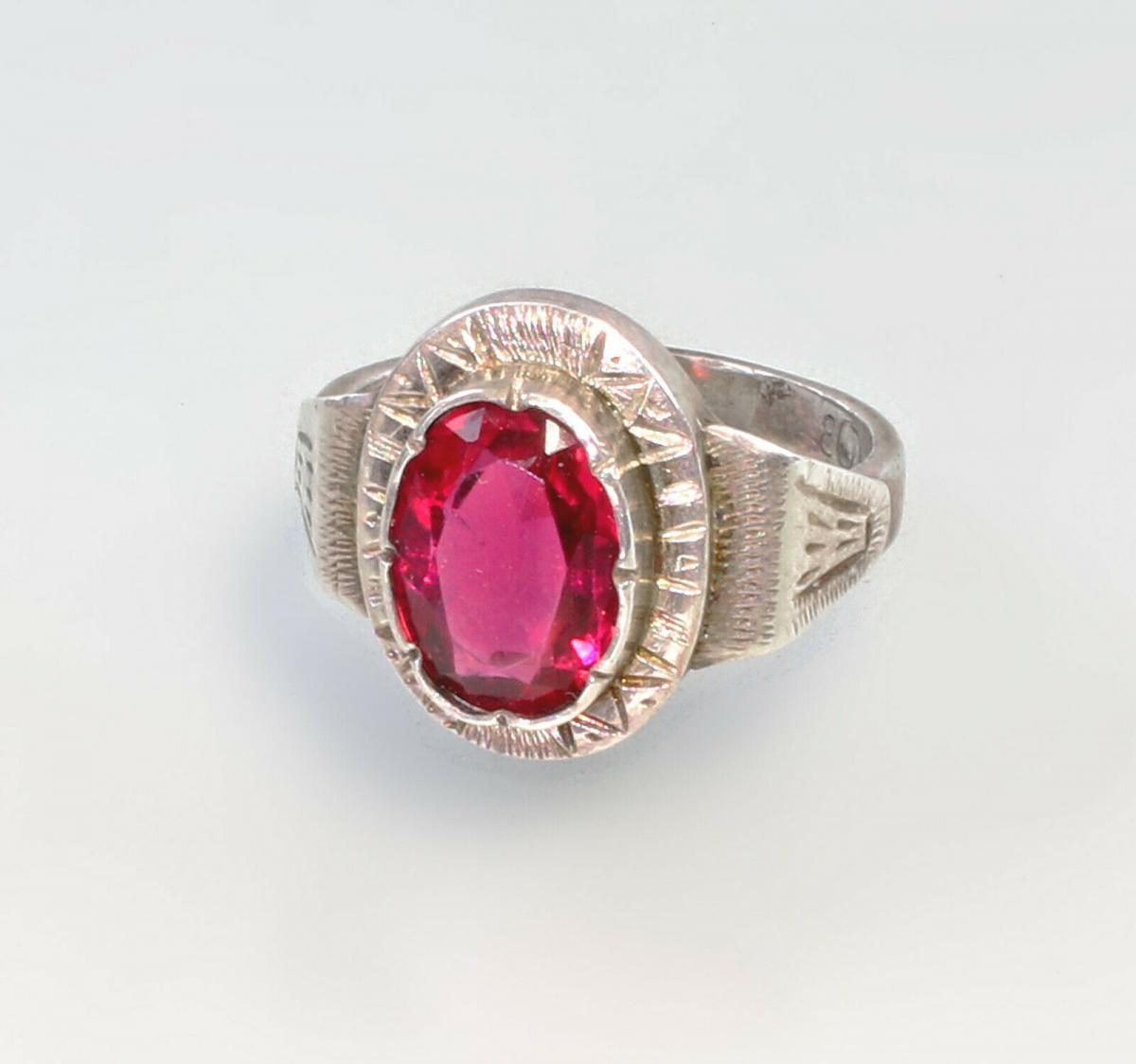 99825539 Ring mit rotem Stein 800er Silber Gr.52