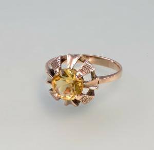 99825538 Citrin-Ring 333er Rot-Gold Gr.56