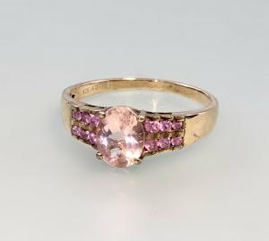 99825537 Ring mit rosa Steinen 925er Silber vergoldet Gr.65