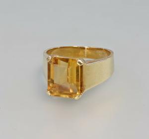 99825536 Üppiger Citrin-Ring 750er Gold 7,87g Gr.56