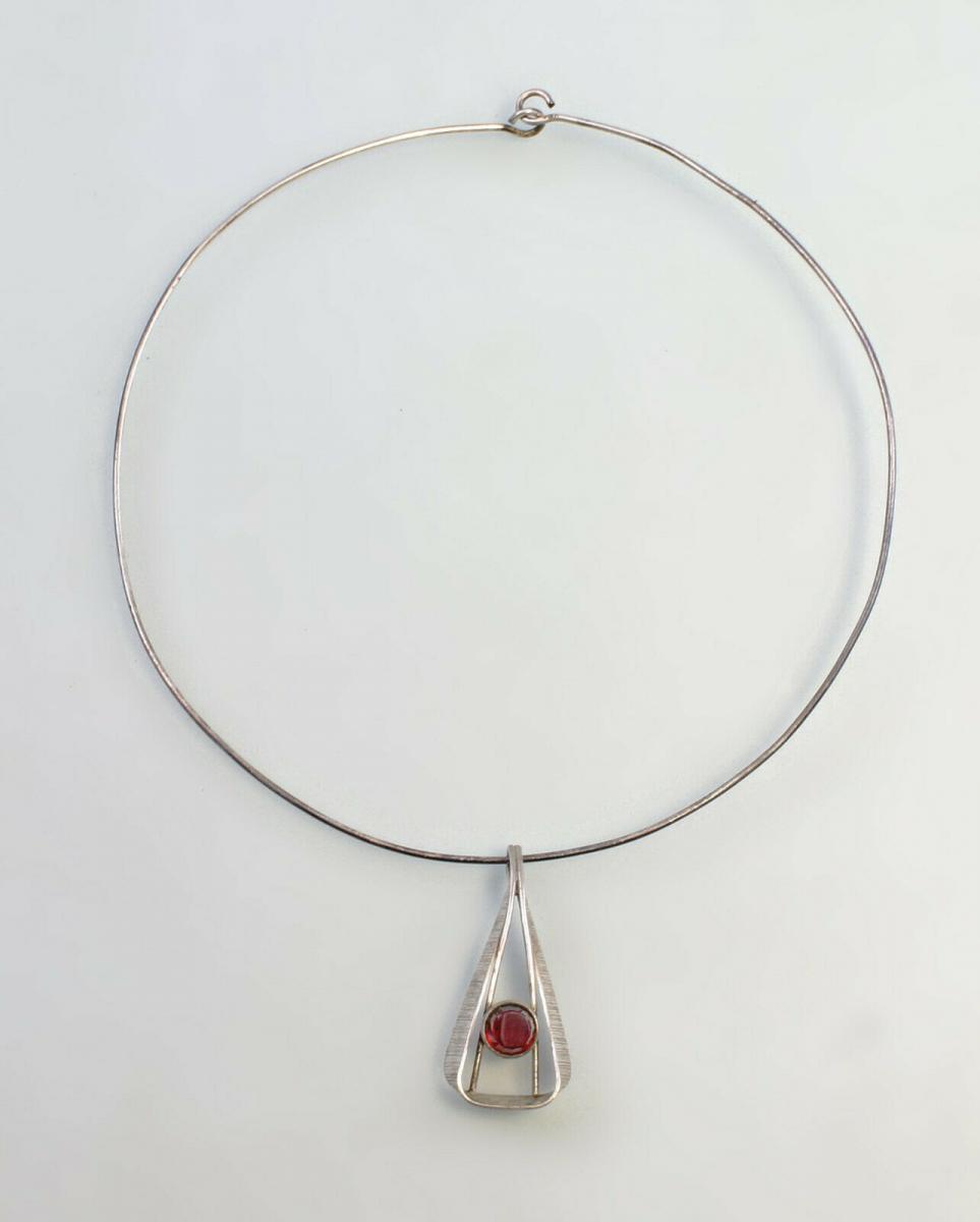 99825564 Collier mit rotem Stein 925er Silber