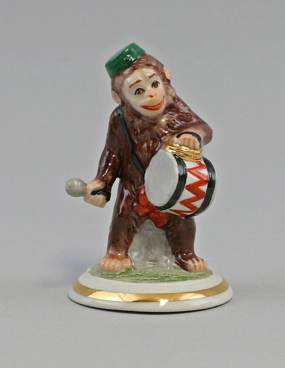 9959593 Porzellan Figur Affe mit Pauke Affenkapelle Ens H8,5cm