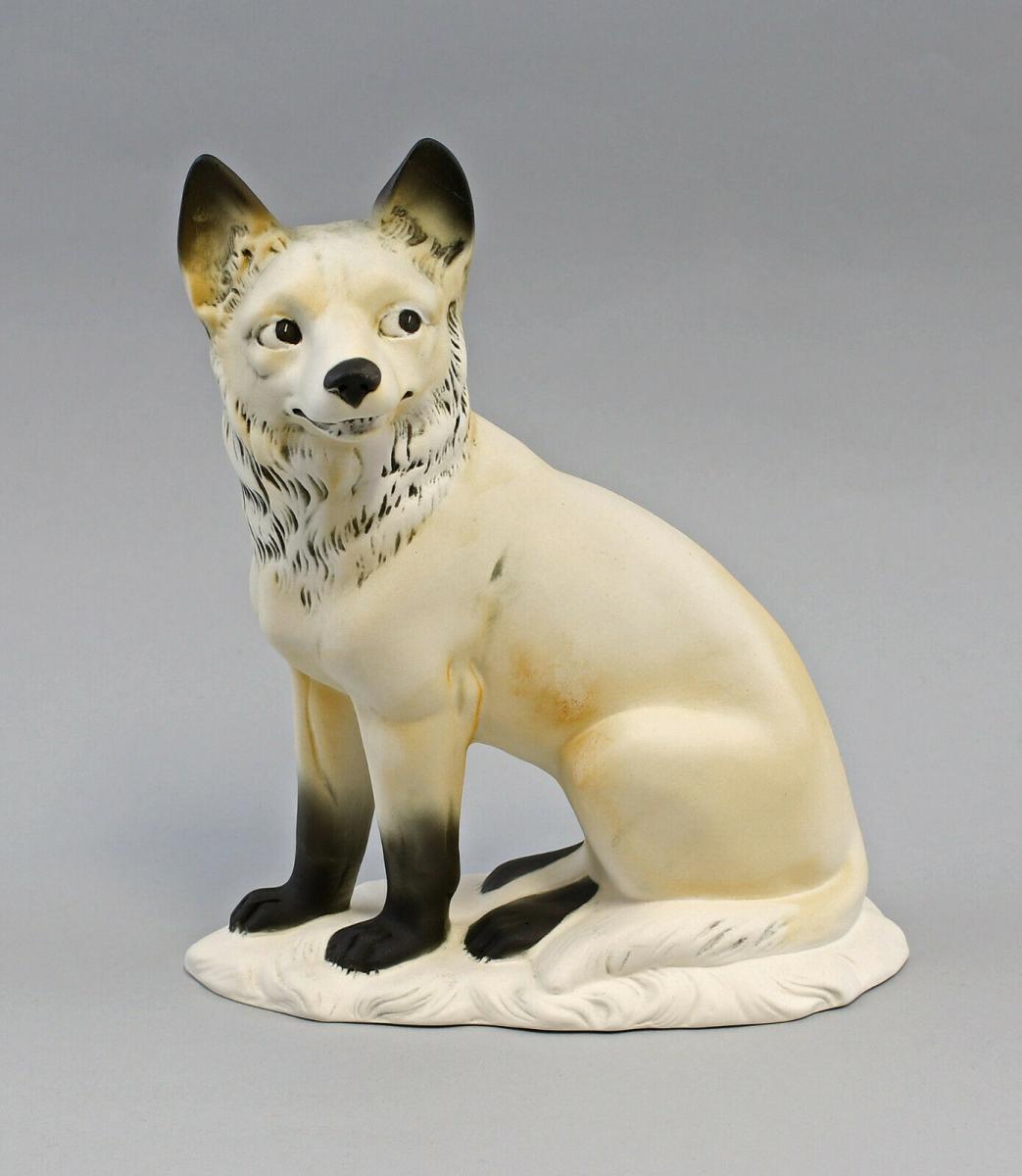 9959477 Porzellan Figur Polar- Fuchs bisquit Ens 17,5x9x21,5cm