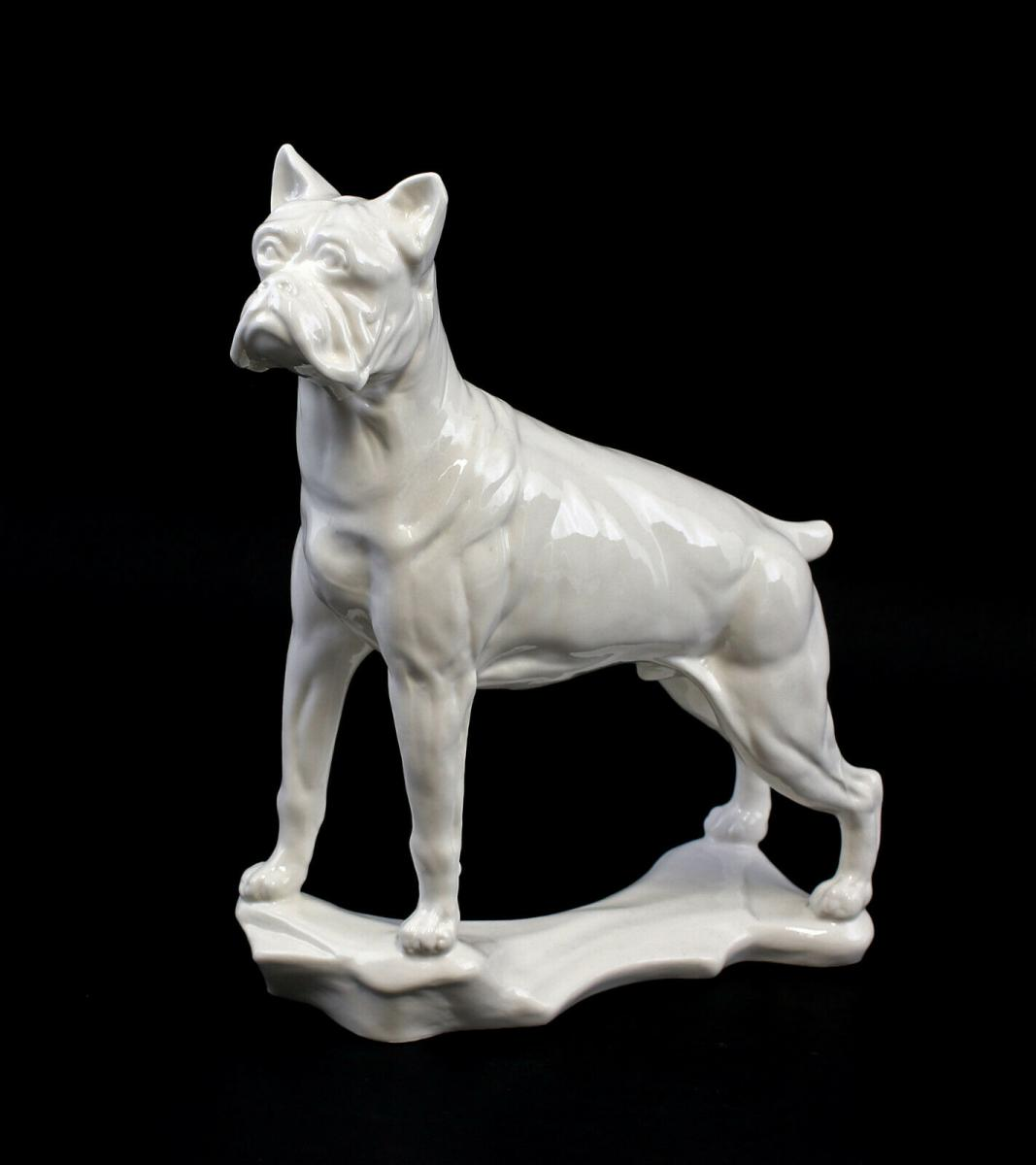 9959463 Porzellan Figur Boxer Hund weiß Ens 20x7x22,5cm