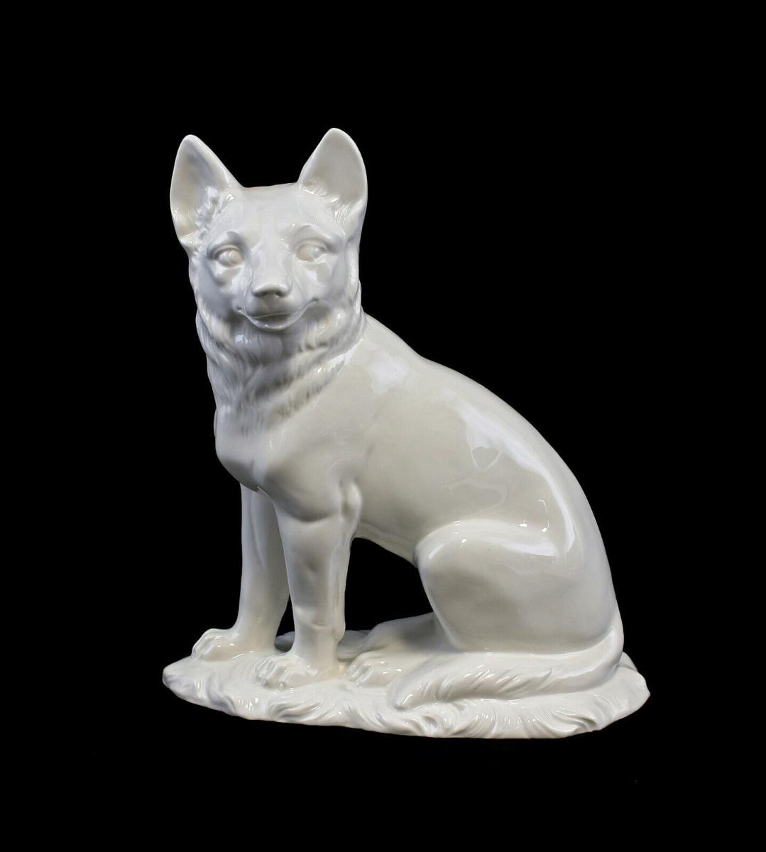 9959459 Porzellan Figur Fuchs weiß Ens 17,5x9x21,5cm