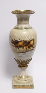 Messing Keramik Amphore Vase Büffel Jugendstil prunkvoll neu 99937868-dss