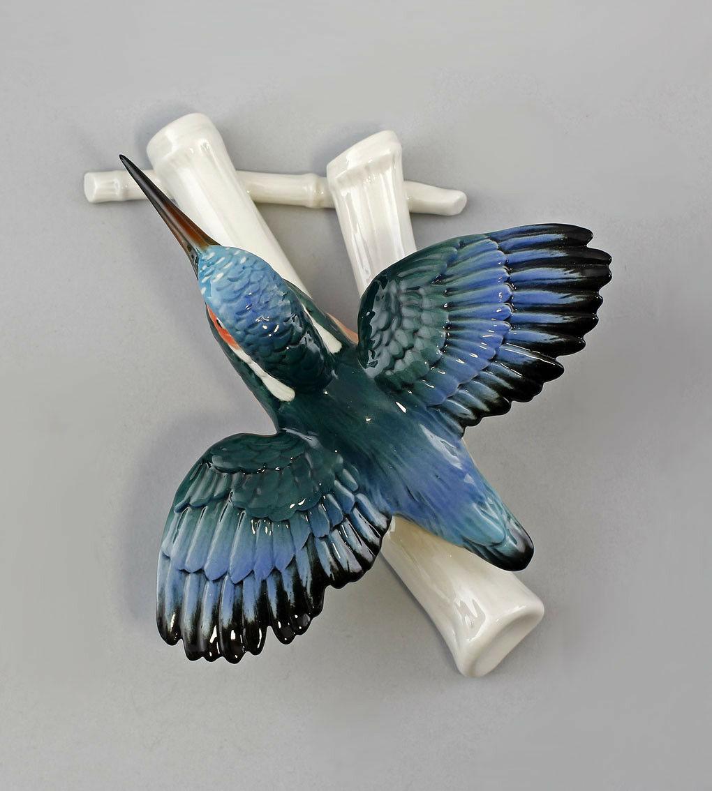 Porzellan Figur Wandvase Eisvogel fliegend Ens H19cm 9941282