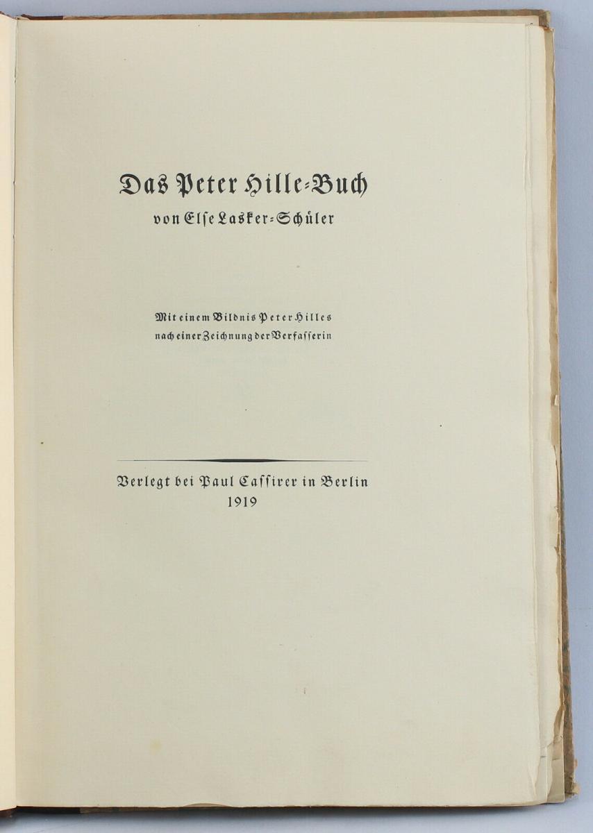 8455001 Else Lasker Schüler Das Peter Hille Buch Sign Vorzugsausgabe 1919