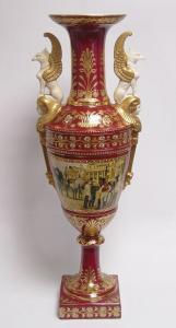 9973518-dss Zweihenklige Porzellan Vase mit Deckel Deckelvase H64cm neu