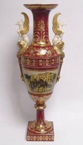 9973517-dss Zweihenklige Porzellan Vase mit Deckel Deckelvase H64cm neu