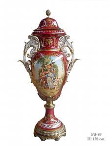 9973512-dss Zweihenklige Porzellan Vase mit Deckel Deckelvase H128cm neu