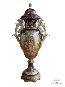 9973509-dss Zweihenklige Porzellan Vase mit Deckel Deckelvase H126cm neu