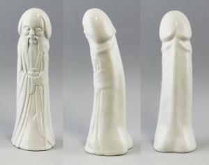 9944236 Porzellan Figur weißer Phallus/Mönch Kämmer H25cm