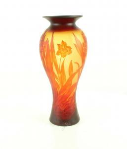 9973536-dss Glas Cameo Baluster Vase Osterglocke Narzisse 20x44cm neu