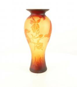 9973535-dss Glas Cameo Baluster Vase Kolibri 20x45cm neu