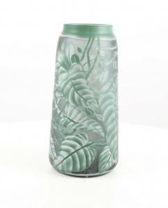 9973534-dss Glas Cameo Vase Saftig Grüne Blätter 18x36cm neu