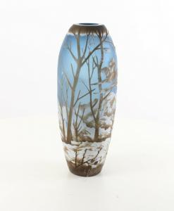 9973532-dss Glas Cameo Vase Winterlandschaft 14x36cm neu