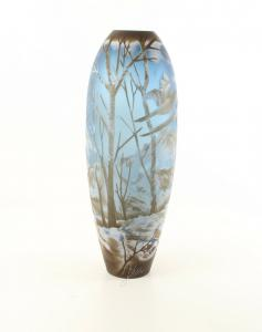 9973531-dss Glas Cameo Vase Winterlandschaft 17x46cm neu