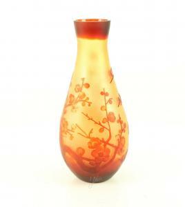 9973530-dss Glas Cameo Vase Kirschblüte 16x37cm neu