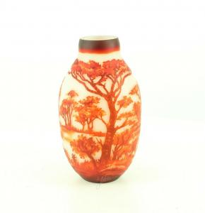 9973529-dss Glas Cameo Baluster Vase Elefant 17x30cm neu