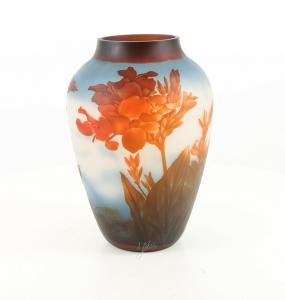 9973526-dss Glas Cameo Vase Rote Blumen 23x33cm neu