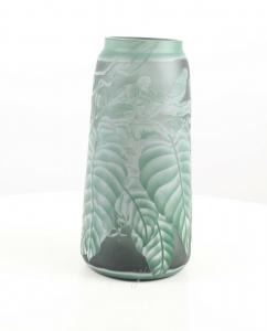 9973523-dss Glas Cameo Vase Saftig Grüne Blätter 18x36cm neu