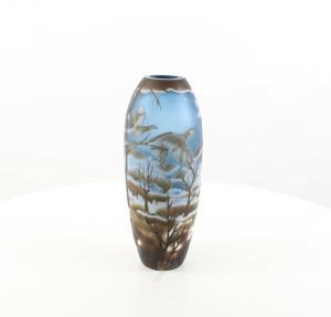9973521-dss Glas Cameo Vase Winterlandschaft 14x36cm neu