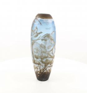 9973520-dss Glas Cameo Vase Winterlandschaft 17x46cm neu