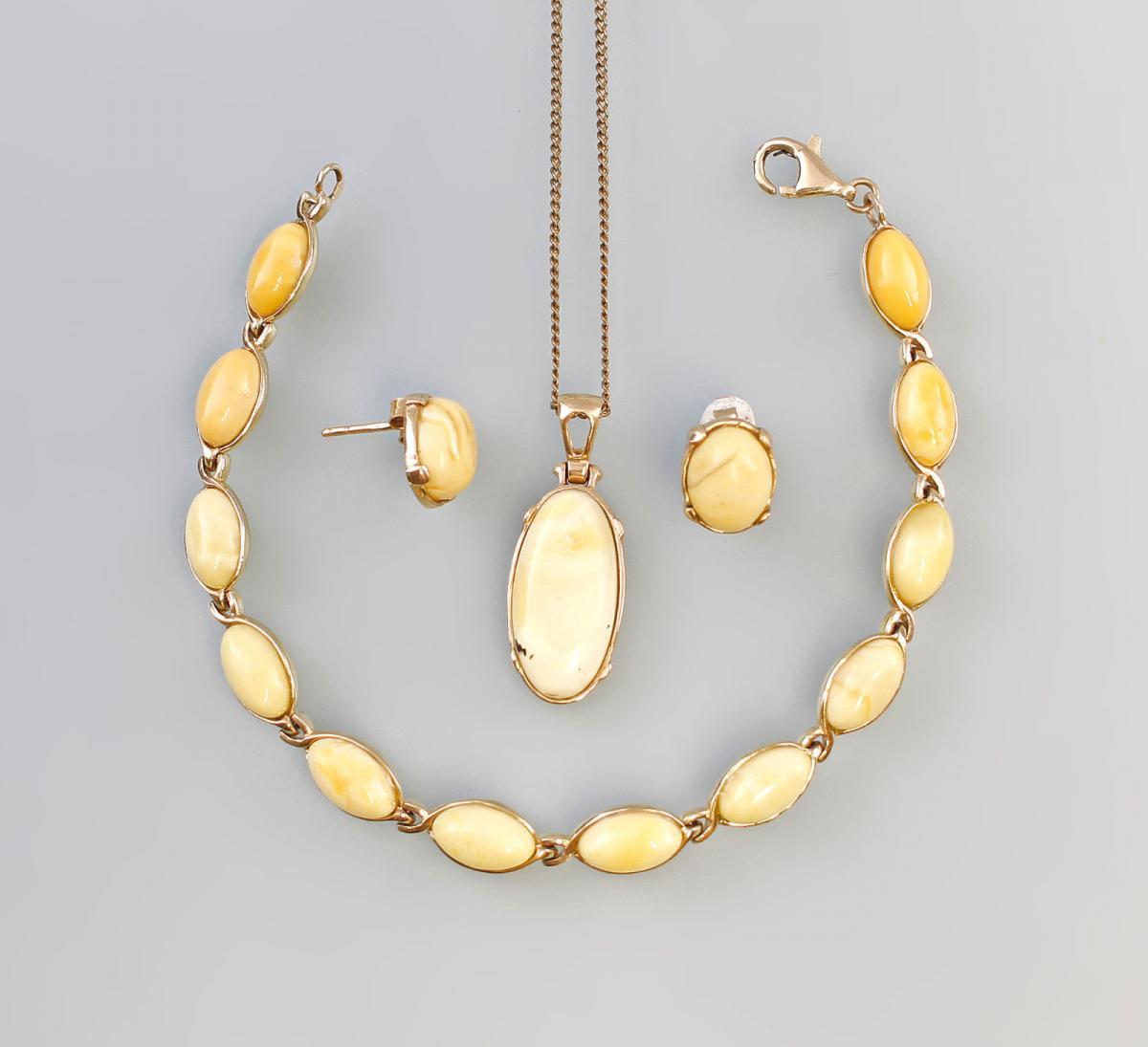8325238 585er/333er Gold Bernstein Butterscotch Armband Ohrringe Anhänger 0