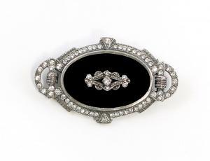 925er Silber Art déco Brosche mit Onyx u. Swarovski-Steinen 9901596