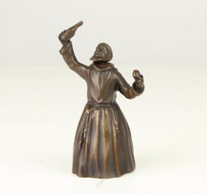Bronze figürliche Glocke trinkender Mönch mit Bart neu 99937636-dss