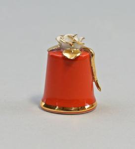 9959442 Porzellan Fingerhut Weiße Rose rot gold Ens H3,3cm