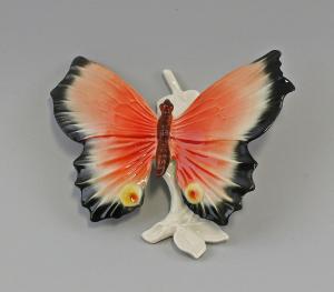 9959472 Porzellan Wand-Schmetterling rot groß Ens 17x15x8cm