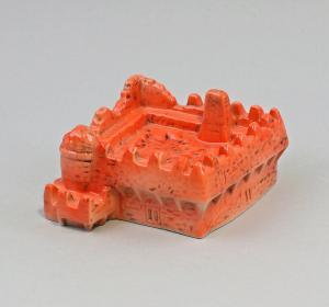 9959413 Porzellan Aschenbecher Ascher Burg rot Ens 11x11x6cm